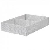 СТУК Ящик с отделениями, белый/серый, 34x51x10 см
