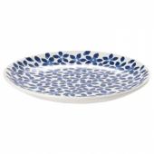 МЕДЛЕМ Тарелка десертная,белый/синий,с рисунком
