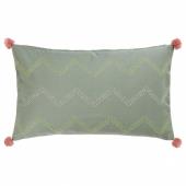 МОАКАЙСА Чехол на подушку, ручная работа зеленый, розовый, 40x65 см