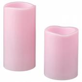 ГОДАФТОН Светодиодная формовая свеча, 2 шт., с батарейным питанием розовый