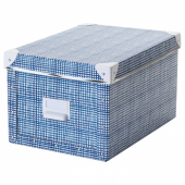 ФЬЕЛЛА Коробка с крышкой,белый,синий