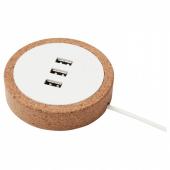 НУРДМЭРКЕ Зарядное устройство USB, белый, пробка