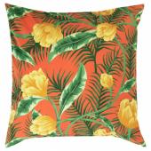 СОЛБЛЕКТ Чехол на подушку, д/дома/улицы, цветочный орнамент оранжевый, 65x65 см