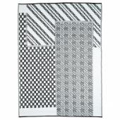 САММАНКОППЛА Ковер, безворсовый, черный/белый, 180x240 см