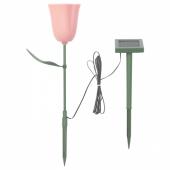 СОЛВИДЕН Подсветка н/солн батарее,светодиод, для сада, тюльпан розовый