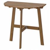 АСКХОЛЬМЕН Пристенный стол, садовый,складной светло-коричневая морилка светло-коричневый серо-коричневая морилка