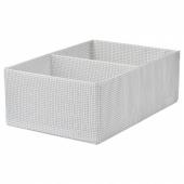 СТУК Ящик с отделениями, белый/серый, 34x51x18 см