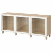 БЕСТО Комбинация для хранения с дверцами, под беленый дуб, Глассвик белый прозрачное стекло, 180x40x74 см