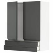 МЕТОД / МАКСИМЕРА Навесной шкаф/2дверцы/2ящика, белый, Воксторп темно-серый, 80x100 см