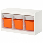 ТРУФАСТ Комбинация д/хранения+контейнеры, белый, оранжевый, 99x44x56 см
