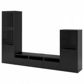 БЕСТО Шкаф для ТВ, комбин/стеклян дверцы, черно-коричневый, Лаппвикен черно-коричневый прозрачное стекло, 300x42x193 см