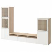 БЕСТО Шкаф для ТВ, комбин/стеклян дверцы, под беленый дуб, Сельсвикен глянцевый/белый прозрачное стекло, 300x42x193 см