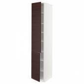 МЕТОД Высокий шкаф с полками/2 дверцы, белый Аскерсунд, темно-коричневый под ясень, 40x60x220 см