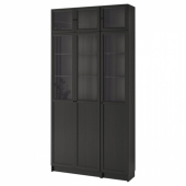 БИЛЛИ / ОКСБЕРГ Стеллаж, черно-коричневый, стекло, 120x30x237 см