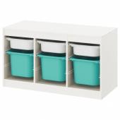 ТРУФАСТ Комбинация д/хранения+контейнеры, белый, бирюзовый, 99x44x56 см
