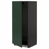 МЕТОД Высок шкаф д холодильн/мороз, черный, Будбин темно-зеленый, 60x60x140 см