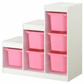 ТРУФАСТ Комбинация д/хранения, белый, розовый, 99x44x94 см
