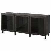 БЕСТО Комбинация для хранения с дверцами, Синдвик черно-коричневый прозрачное стекло, 180x40x74 см
