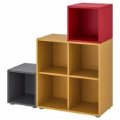 ЭКЕТ Комбинация шкафов с ножками, темно-серый золотисто-коричневый, красный, 105x35x107 см