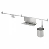 КУНГСФОРС Рейлинги+крючки/подставка/контенер, нержавеющ сталь, 112 см