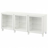 БЕСТО Комбинация для хранения с дверцами, белый, Глассвик белый прозрачное стекло, 180x40x74 см